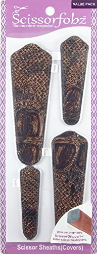 Scissors by SCISSORFOBZ with ScissorGripper -VALUE PACK-4 sizes- Designer Scissor sheaths Covers Holders for embroidery sewing quilting - Quilters sewers gift - Elegant Alligator Skin Design. S-01 by SCISSORFOBZ