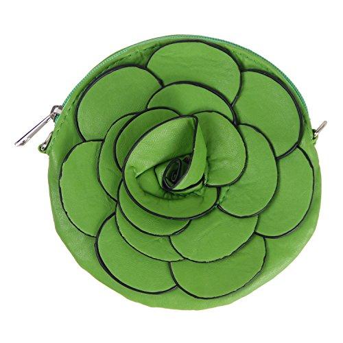 Your Gallery Designer Raised Flower Coin Purse Round Pouch Handbag (aqua)