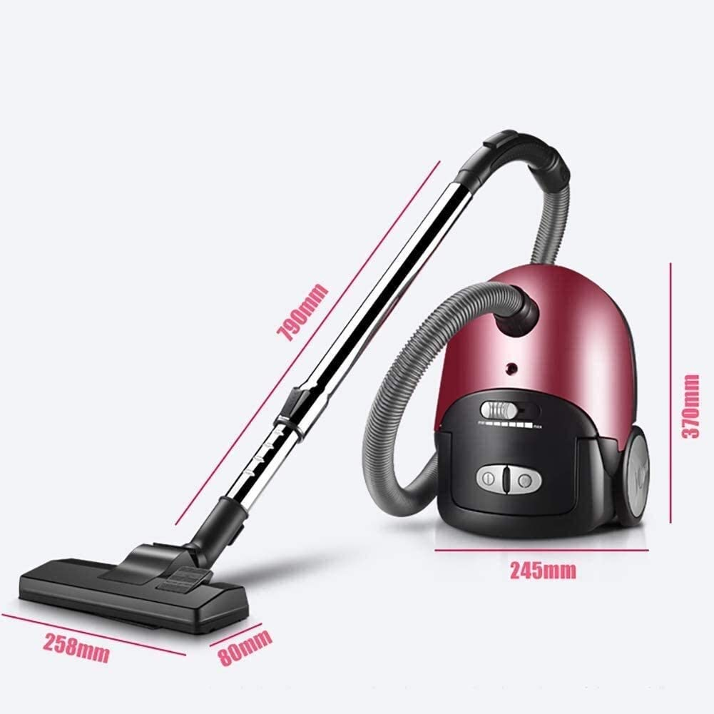 QI123 Bagless Cylinder Vacuum Cleaner Mini Carpet Vacuum Cleaner Mute Powerful Power Handheld 1600w 2l 0612 (Color : Rose Red)