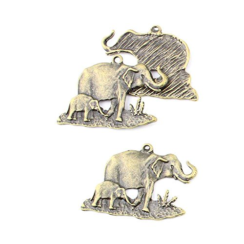 5 pieces Anti-Brass Fashion Jewelry Making Charms 14072 Elephant Wholesale Supplies Pendant Craft DIY Vintage Alloys Necklace Bulk Supply (Brass Elephant Charm)