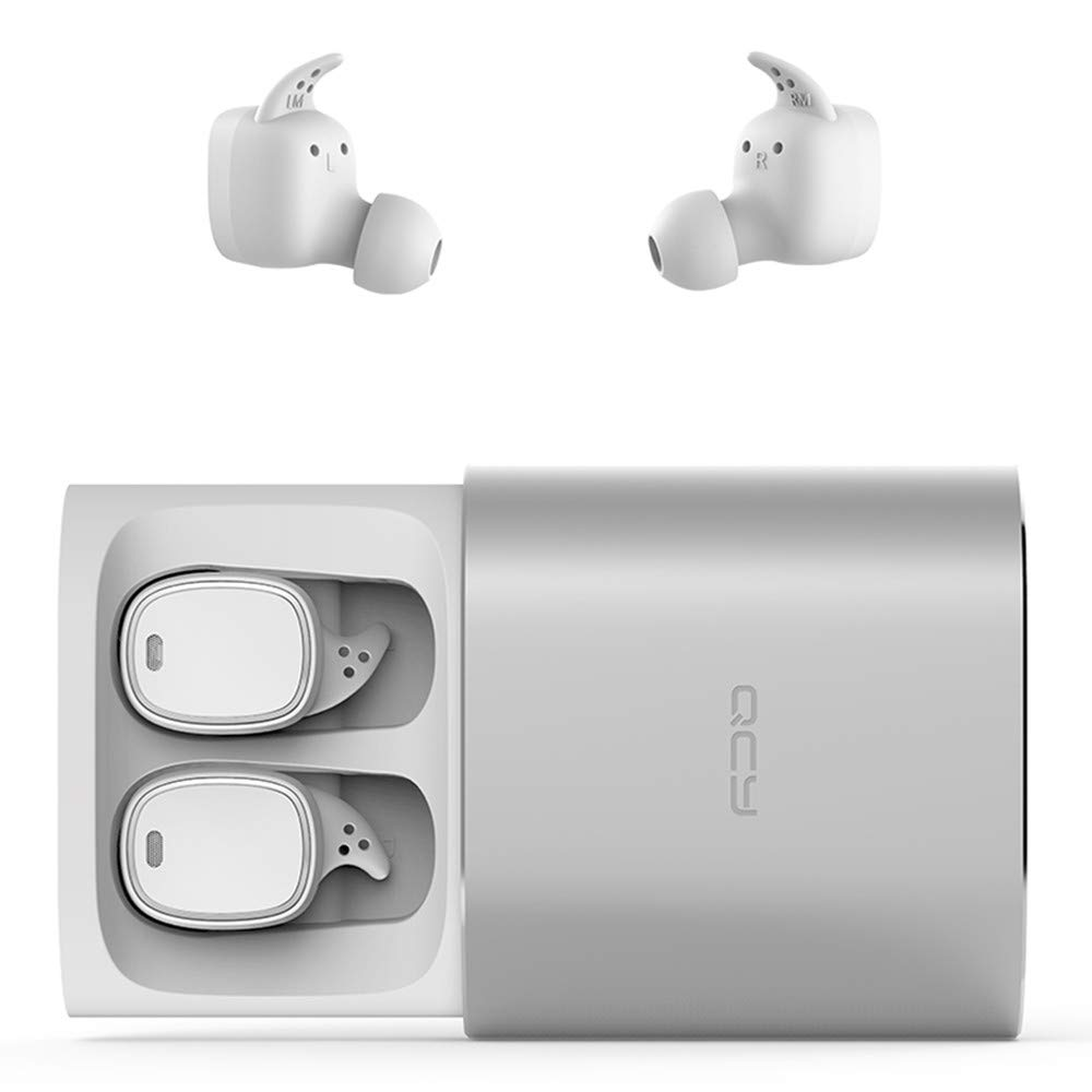 CY T1Pro TWS Wireless Earbuds with Charging Case, NOVPEAK Mini Invisible Touch Control Headphones Earphones Stereo Sound Headset for Android iPhone Samsung etc (1 Pair, White)
