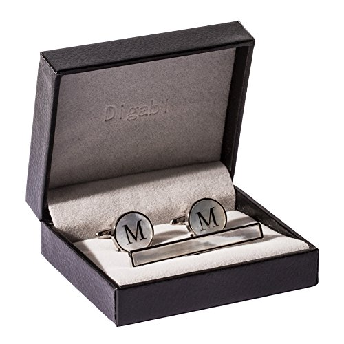 Digabi Platinum Plated 18K Rectangular Mother of Pearl Tie Clip and Initial Letter Cufflinks Set with Nice Box (Silver M)