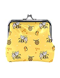 Women Vintage Buckle Coin Purse Happy Cow Bee Honey Small Pouch Wallet Clutch