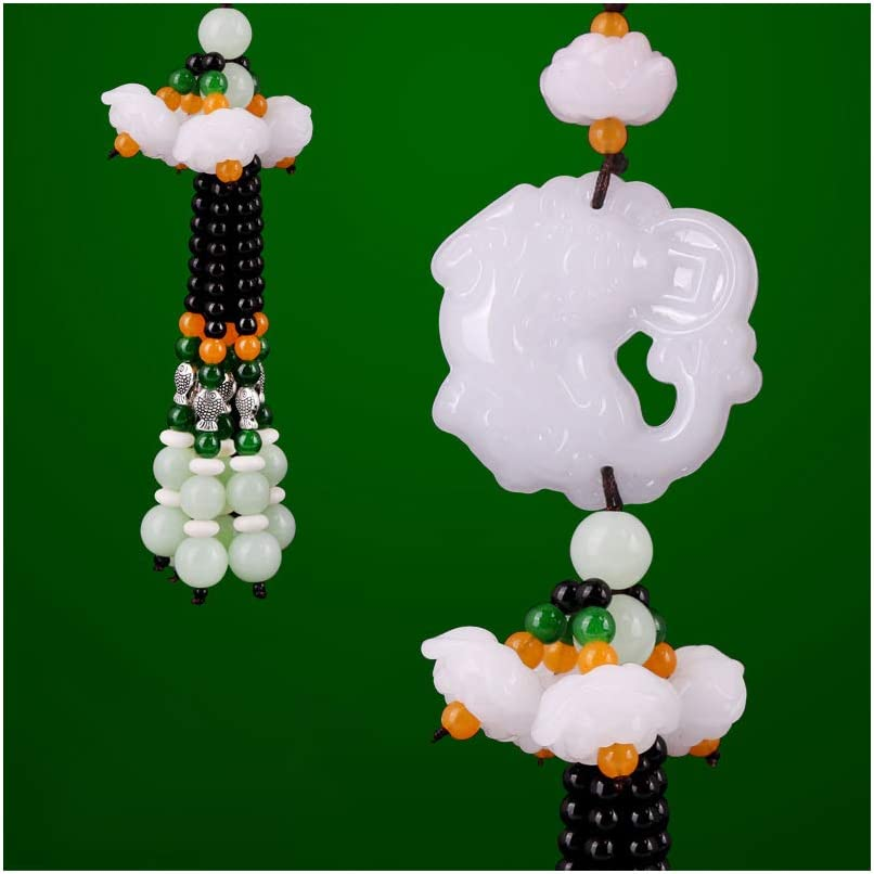 Dangling Ornaments Vehicle Accessory Rearview Mirror Charms Pendant Brave Troops Crystal Lotus Car Pendant Amulet Pray for Luck Safety Car Hanging Decoration E-Brave Troops White
