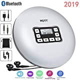 Portable Bluetooth CD Player LCD Display/Headphone Jack Anti-Skip Protection Anti-Shock Ultra Thin Personal CD Music Disc Player Kids Adults Students White DeeFec