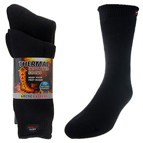 2 Pairs of Thick Heat Trapping Insulated Heated Boot Thermal Socks, Black, Medium (Insulated For Boots compare prices)