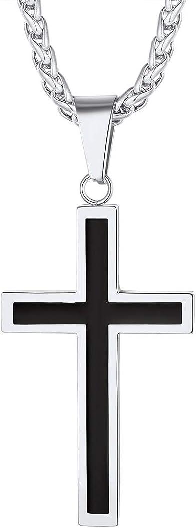 Richsteel Cadenas Hombre y Colgantes Cruz Crucifijo Mujer [Platino/Dorado/Negro] Servicio para Grabados Gratis Caja de Regalo