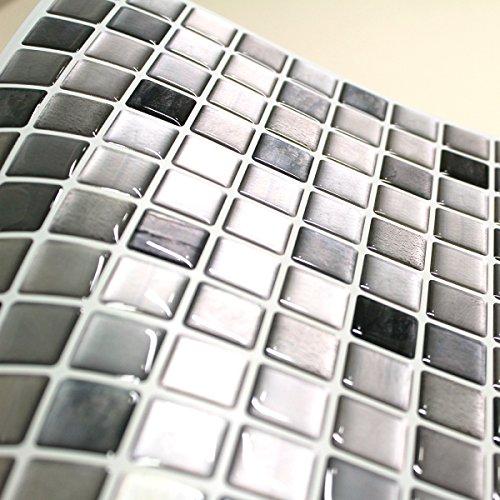 BEAUSTILE Decorative Tile Stickers Peel Stick Backsplash Fire Retardant Tile Sheet (Monocrome) (10, 12.2'' x 12.2'') by BEAUS TILE (Image #2)