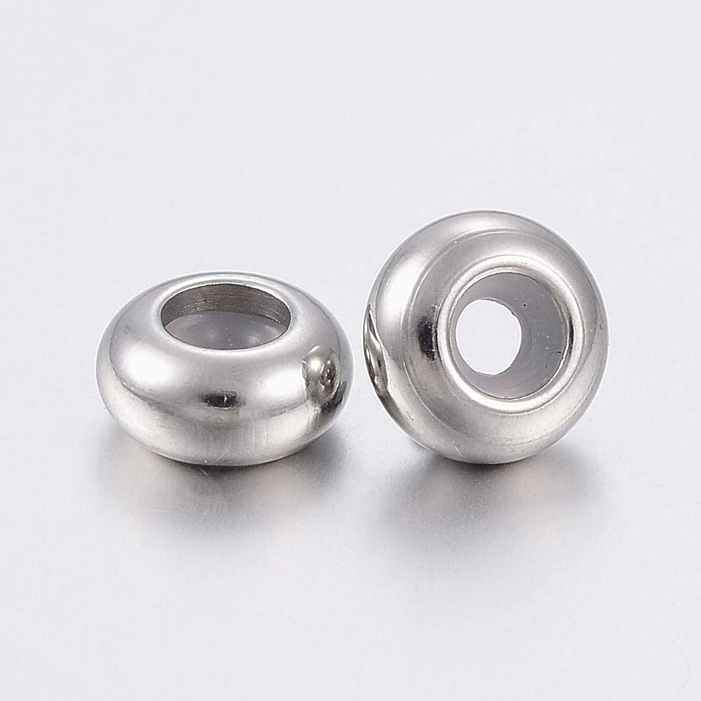 10pcs 7mm Stainless Steel Ring Bead Rubber Inside Slider Stopper Beads Jewelry