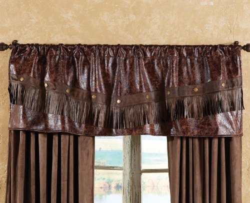 BLACK FOREST DECOR Distressed Leather Western Valance - Forest Black Leather