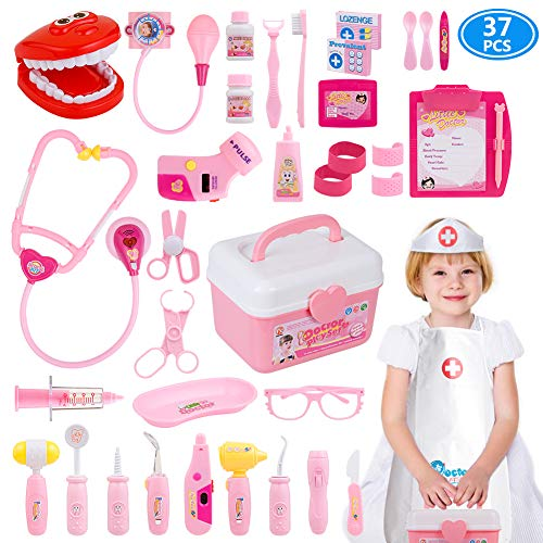 Gifts2U Toy Doctor Kit, 37 Piece Kids Pretend Play Toys Dentist Medical Role Play Educational Toy Doctor Playset for Girls Ages -