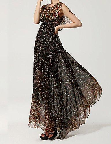 PU&PU Robe Aux femmes Grandes Tailles / Vintage / Soirée / Plage / Mignon Maxi Mousseline de soie , black-s , black-s