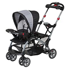 The Sit N Stand Ultra stroller has multiple riding positions, allowing children to sit or stand along the ride, or use an infant car seat in both the front and rear facing seats. The Sit N Stand Ultra stroller can accept one or two infant car...