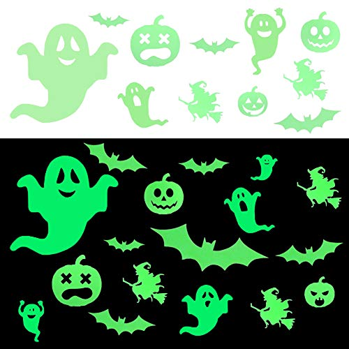 LIVEHITOP 80+ Pcs Wall Decorations in The Dark Wall Stickers Window Stickers Bats Ghost Pumpkin Luminous Christmas Decor for Kids Room Party