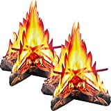 Tatuo 12 Inch Tall Artificial Fire Fake Flame Paper 3D Decorative Cardboard Campfire Centerpiece Flame Torch for Campfire Party Decorations, 2 Set