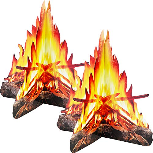 12 Inch Tall Artificial Fire Fake Flame Paper 3D Decorative Cardboard Campfire Centerpiece Flame Torch for Campfire Party Decorations, 2 Sets]()