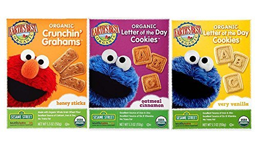 Earths Best Snack Crackers Bundle: Crunchin Grahams Honey Sticks, Oatmeal Cinnamon Organic Letter of the Day Cookies & Very Vanilla Organic Letter of the Day Cookies (1 box of each)