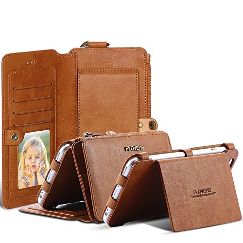 iPhone X 10 8 7 Plus Business Leather Wallet Multi Card Holders Photo Frame Stand Function Slot Cover Money Phone Case Bag For iPhone (Brown, iPhone X) by FLOVEME