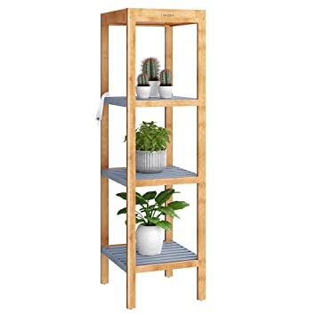 Langria Bamboo Bathroom Shelf 4 Tier Multi Function Storage Shelving Unit Free Standing Kitchen Rack Corner Shelf Display Stand For Living Room
