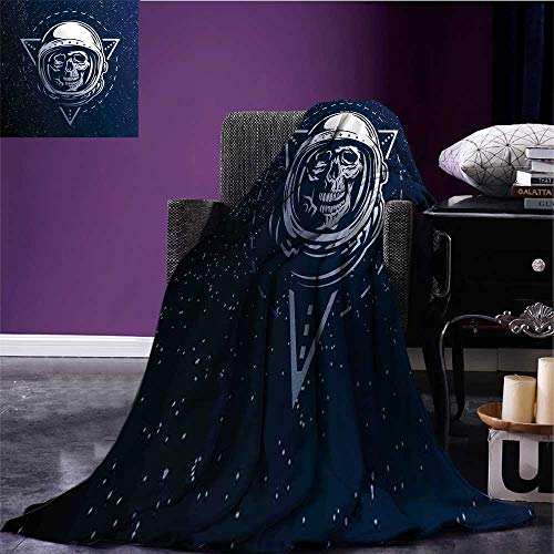 Outer Space Digital Printing Blanket Dead Skull Head Icon Cosmonaut Costume Astronomy Terrestrial Horror Scare Image Bed Cover Grey Blue Bed or Couch 50