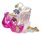 RADKO BUNDLE OF JOY Baby Girl Stork Glass Ornament