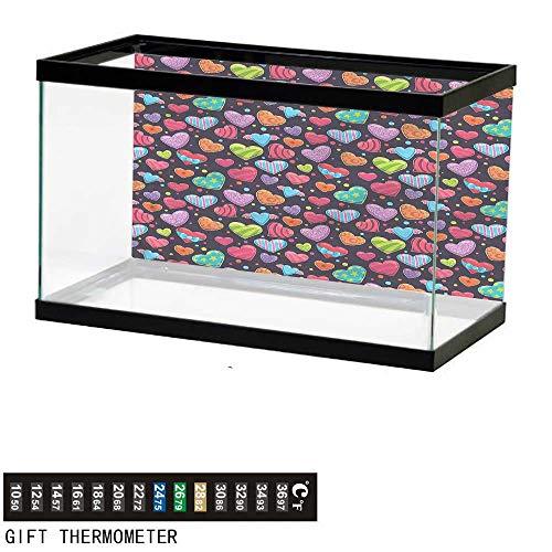 homecoco Fish Tank Backdrop Hearts,Cartoon Striped Figures Dots,Aquarium Background,24