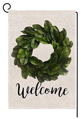 Welcome Magnolia Leaves Wreath Small Garden Flag Vertical Double Sided 12.5 x 18 Inch Farmhouse Summer Burlap Yard Outdoor Decor