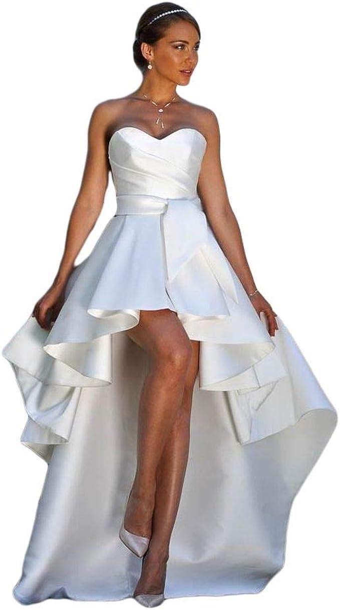 Amazon.com CongYunGe Women's High Low Satin Wedding Dresses A ...