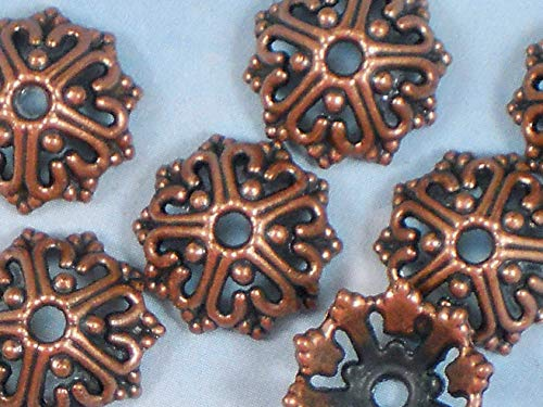 - 16 Bead Caps Wire Heart Open Design 14mm Copper Tone Bali Style Vintage Crafting Pendant Jewelry Making Supplies - DIY for Necklace Bracelet Accessories by CharmingSS