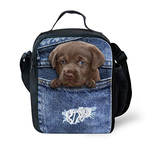Girls Pet2 Nopersonality Bag Lunch Food Insulated Container Bag Pet7 Pocket Lunch Denim Denim Pocket dOTOFRwx