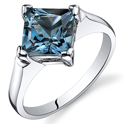 London Blue Topaz Engagement Ring Sterling Silver Rhodium Nickel Finish 2.00 Carats Size 5