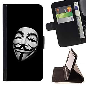- CODE FREEDOM MASK HACKER MAN WHITE - - Prima caja de la PU billetera de cuero con ranuras para tarjetas, efectivo desmontable correa para l Funny HouseFOR Sony Xperia Z1 L39