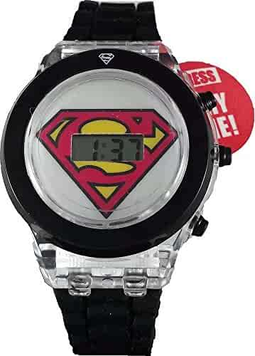 Superman Kids' Light Up Watch with Black Rubber Band (SUP4013WM)