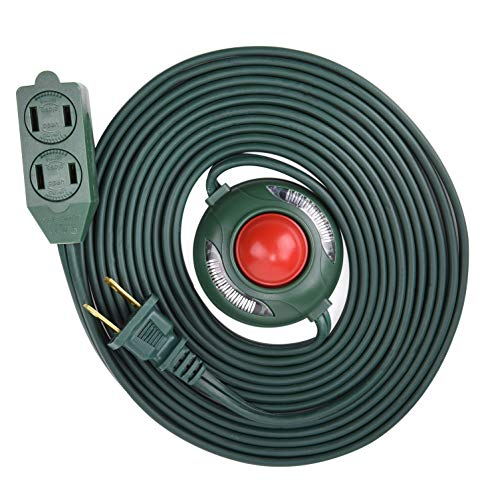 Electes 15 Feet 3 Outlet Extension Cord with Hand/Foot Switch and Light Indicator with Safety Twist-Lock, 16/2, Green - UL Listed