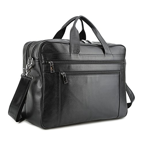 BAIGIO Men's Briefcase Real Calfskin Leather Laptop Bags Messenger Bags Multi-Pocket Business Work Shoulder Bag (Large, Black-17 Inches)