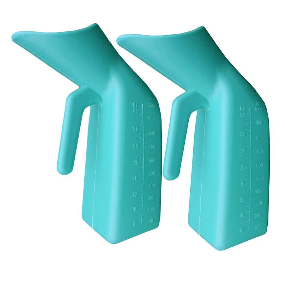 YUMSUM Firm Thick Female Urinal 1000ml/32 Ounce for Camping Car Travel Home (2-Pack, Green)