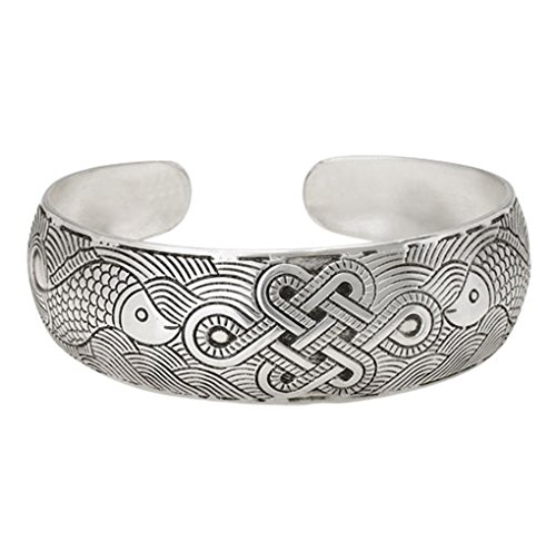 Endless Knot Koi Cuff Bracelet White Copper & Zinc Alloy Muntz Metal