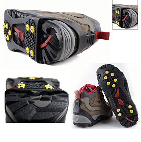FOXTSPORT Anti Slip Ice Snow Grips,Pair of 10 Stud Ice Grippers Traction Cleats Crampons Over Shoes/Boot for Outdoor (Sizes: S/M/L/XL)