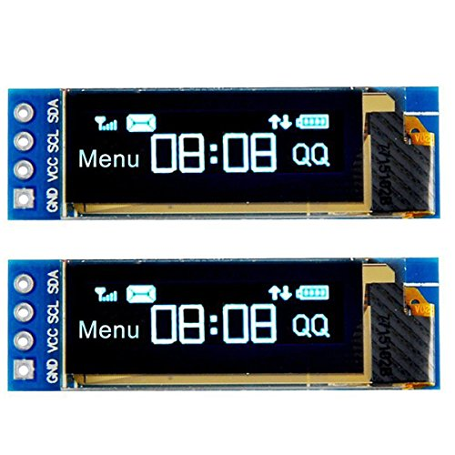 MakerFocus 2pcs I2C OLED Display Module 0.91 Inch I2C SSD1306 OLED Display Module Blue I2C OLED Screen Driver DC 3.3V~5V for Arduino ()