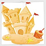 Cotton Microfiber Hand Towel,Kids Decor,Sand Castle Kingdom Summer Hobby Activity on the Beach Children Game Design,Light Yellow,for Kids, Teens, and Adults,One Side Printing