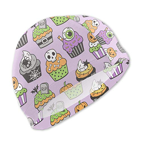 sport outdoor 003 Halloween Fall Cupcakes Swim Caps for Kids Boys and Girls Baby Bathing Caps for Long and Short -