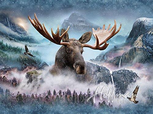 Moose /Waterfall Fabric Panel - Call of the Wild Digital Print - 33
