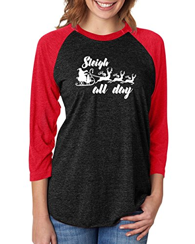 Sleigh All Day- Raglan Baseball Tee Black
