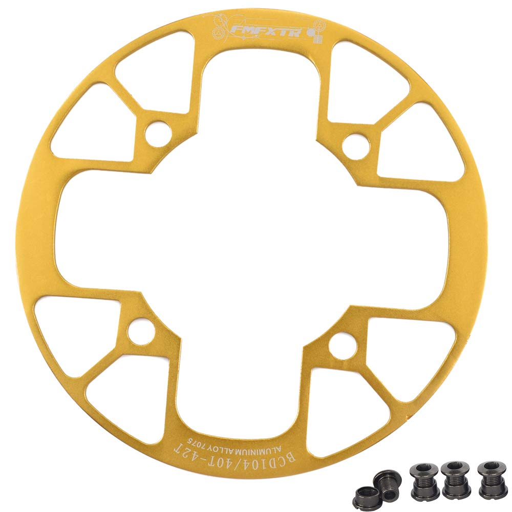 UPANBIKE Montain Bike Chainring Guard 104 BCD Aluminum Alloy Chain Ring Protector Cover for 32~34T 36~38T 40~42T Chainring Sprockets (Golden, 36T~38T) by UPANBIKE
