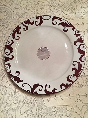 Ciroa Luxe Filori Cake Stand Porcelain Flat Desert White Silver 14