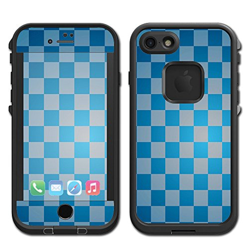 Skin Decal Vinyl Wrap for Lifeproof Fre Apple iPhone 7 Case stickers skins cover/ Blue Grey Checkers