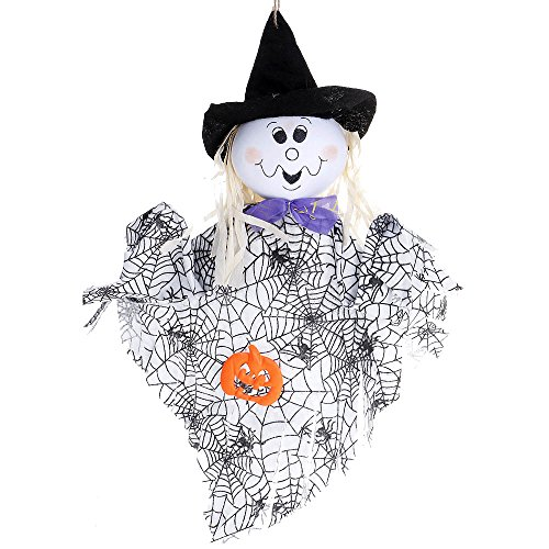 Huayang| Hanging Halloween Ghost Front Yard Decoration, Spook Pumpkin Fly Witch Scarecrow Doll Hanging for Halloween Party Decor - (Halloween Doll Patterns)