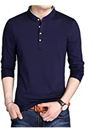 Mens Spring and Autumn Casual O-Neck Button Cuffs Cardigan Long Sleeve T-Shirts