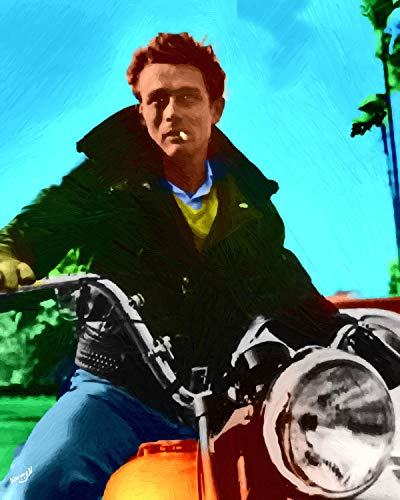- Artist Peter Nowell 16 x 20 James-Dean On His Motorcycle Oil Painting Poster Signed & Number Limited Edution Print