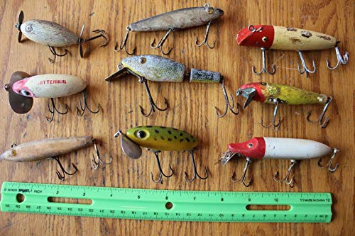 9 Fishing Lures Lot of For Vintage Some Wooden & hand painted handmade Jitterbug ++